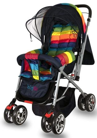 BabyGo Delight Reversible Baby Stroller and Pram with Mosquito Net, Mama Diaper Bag and Wheel Breaks