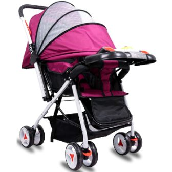 Little Olive Tweety Stroller Pram - Protection Shield and Musical Food Tray - (Wine Colour) for Newborn Baby